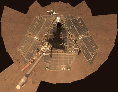 Opportunity rover's wind cleaned solar panels, Source: NASA