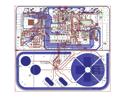 The various layers of the badge PCB. [Kartoffel]