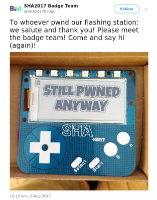 The SHA badge team's response to their flashing station being compromised.