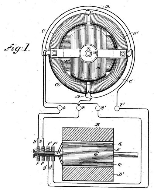 US patent 382,279 Electro magnetic motor - Figure 1