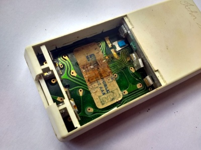 Battery compartment, with corroded connector.