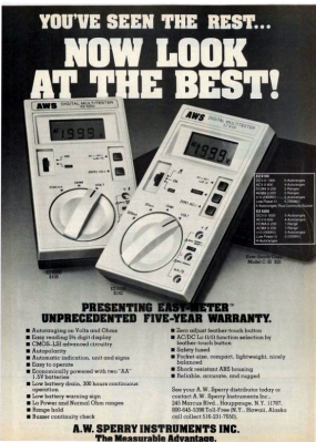 Did any of you have an AWS multimeter? Was it the best? Radio-electronics magazine, August 1981.