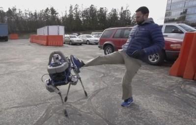 Spot - Boston Dynamics robot being kicked