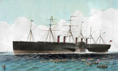 A contemporary picture on the Great Eastern at sea. [Public domain]