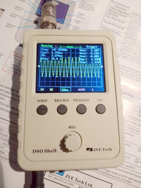 The DSO150 showing the upper end of its bandwidth.