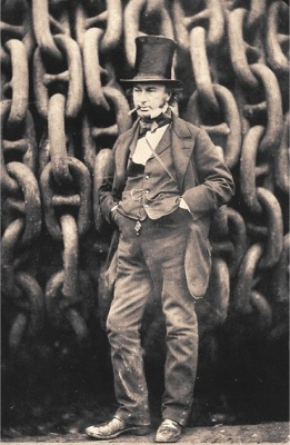 [Isambard Kingdom Brunel], in front of the launching chains for the Great Eastern. [Public domain]