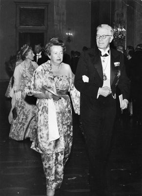 After receiving the Nobel prize, with King Gustaf VI Adolf of Sweden