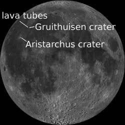 Locations on the Moon of lava tubes for living in and areas where there's ilmenite.