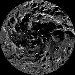 The Moon's south pole showing craters in permanent darkness