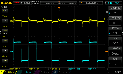 The yellow trace shows ripple on the DC output, while the blue one shows the waveform at the transistor collectors.