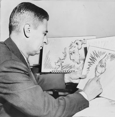 You can tell [Dr. Seuss] is thinking about his next volume: <em>How The Grinch Stole Whoville Hackspace</em>. Al Ravenna, World Telegram [Public domain].