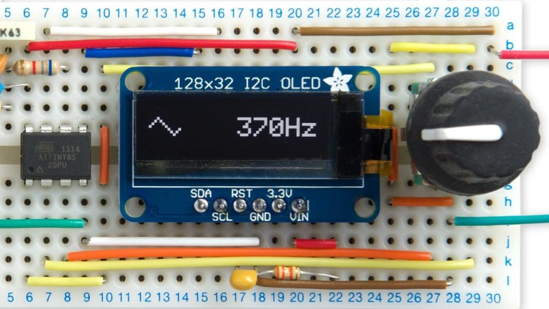 Tiny Function Generator On The ATtiny85, Complete With OLED