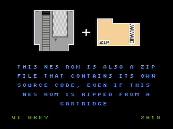 NES ZIP Polyglot shown in NES emulator