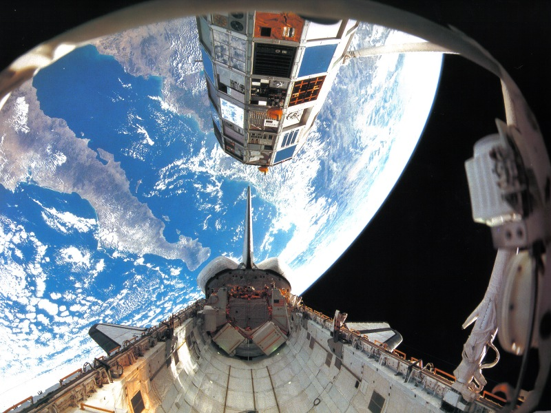 LDEF as seen from the Space Shuttle