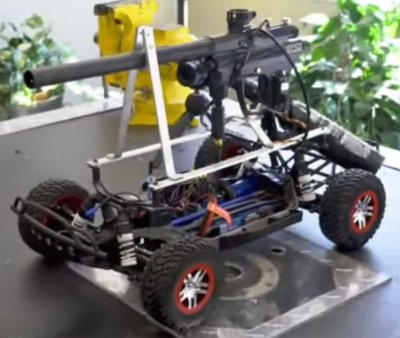RC car with paintball gun attached