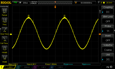 A few transients showing on the 1kHz sine wave.