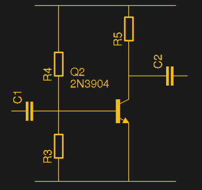 The classic simple transistor AC amplifier.