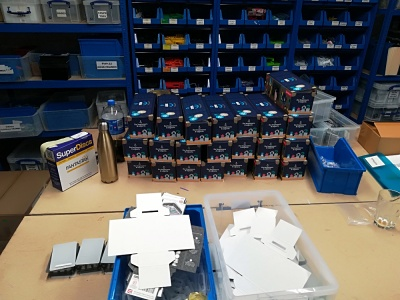 A pile of Flotilla kits packed and ready for customers