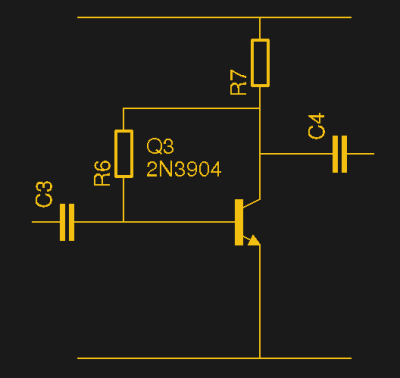 Simple but effective, the self-biasing amplifier. Try 330k for R6, and 1k for R7.