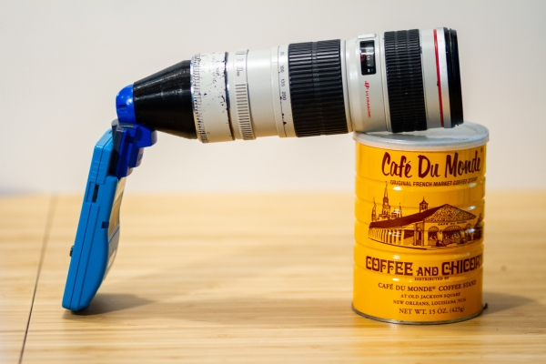 Game Boy Camera mounted to Canon Lens using EF Mount