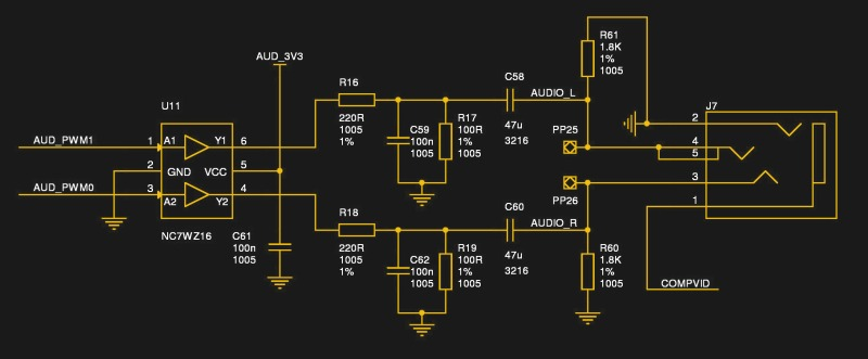The audio circuitry from the Raspberry Pi 3.