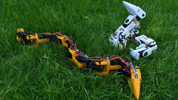 Robot snakes on the grass