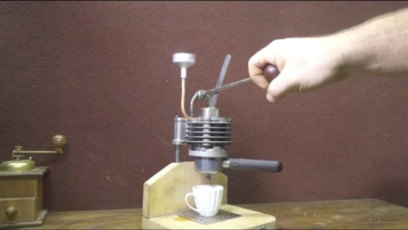 Motorbike piston espresso machine