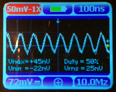 A 10 MHz 100mV pk-pk sine wave as seen through the Nano 3.