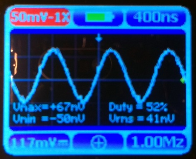 A 1MHz 100mV pk-pk sine wave as seen on the Nano 3.