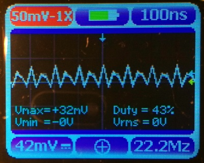 A 20 MHz sine wave at 100mV pk-pk, as seen on a Nano3 screen.