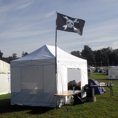 In 2016 we had a single flag on a hackspace village, expect more this year!