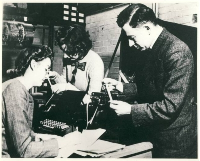 Kathleen, Xenia Sweeting and Andrew working on the ARC in 1946