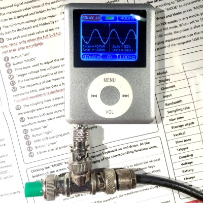 The DSO Nano 3 being fed a 1MHz sine wave by our signal generator.