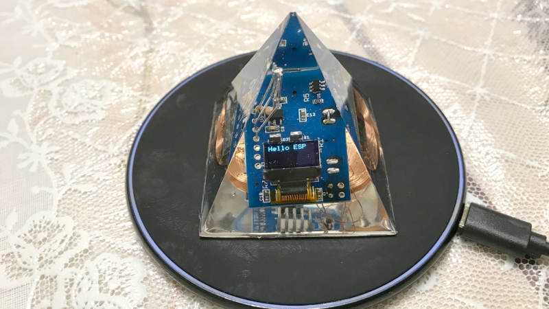 Electronics in clear epoxy pyramid