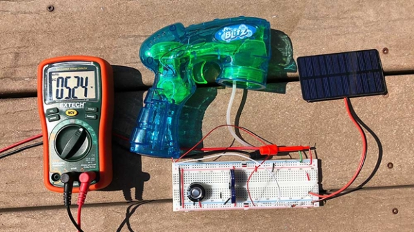 Solar powered soap bubble blaster