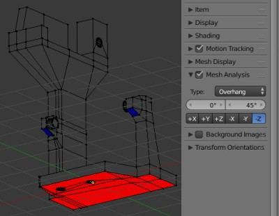 Blender mesh analysis: overhangs