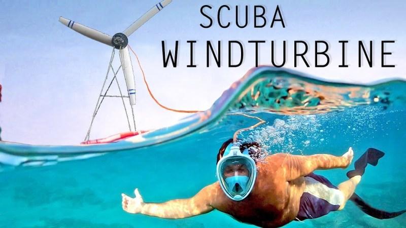 Wind turbine pumping air to an underwater scuba helmet