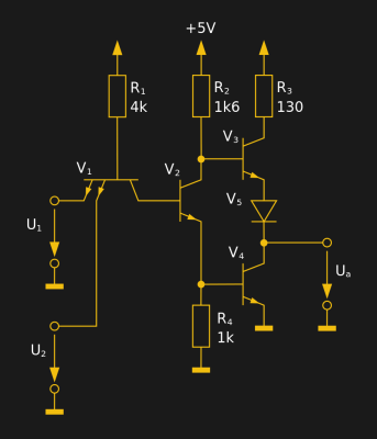 The internal circuit of a single 7400 dual-input NAND gate. 30px MovGP0 (CC BY 2.0 DE).