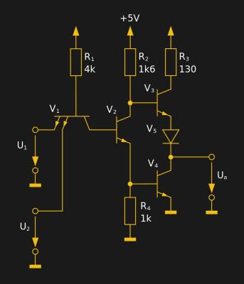 The internal circuit of a single 7400 dual-input NAND gate. 30px MovGP0 (CC BY 2.0 DE).
