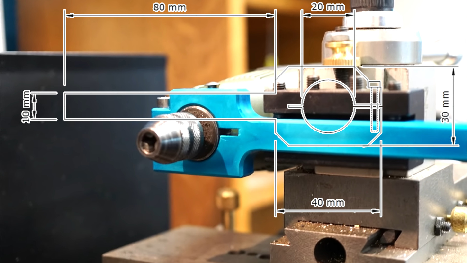 Lathe's Tool Holder Holds a Rotary Tool