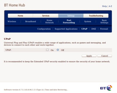 Turning off the enabled-by-default UPnP in an older BT HomeHub pulled from the surplus router pile.