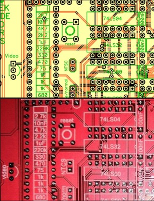 The CAD view of part of the genuine board (top, yellow) versus the same part of the bootleg (bottom, red).