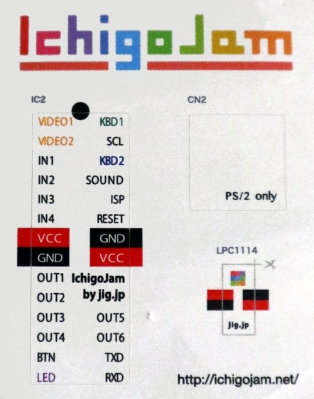 The IchigoJam's supplied sticker has all the I/O pin assignments.