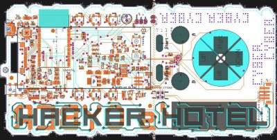 The Gerber view of the Hacker Hotel 2019 badge PCB.