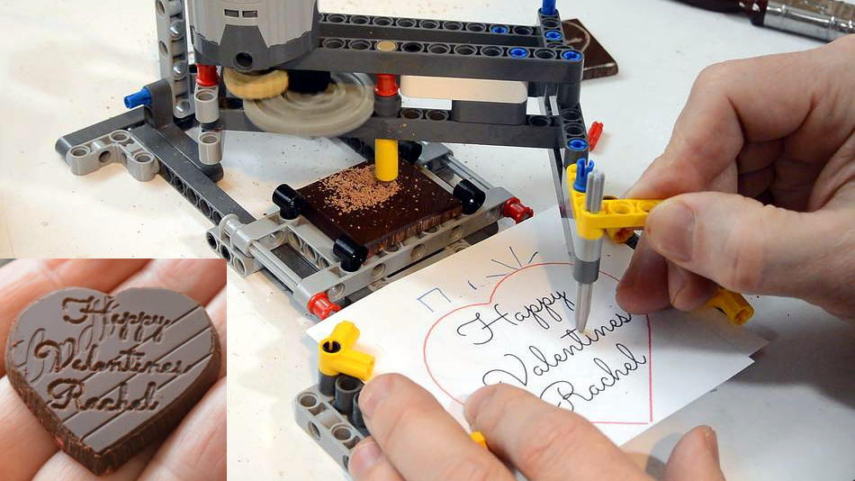 Watch This LEGO Pantograph Carve Chocolate Messages