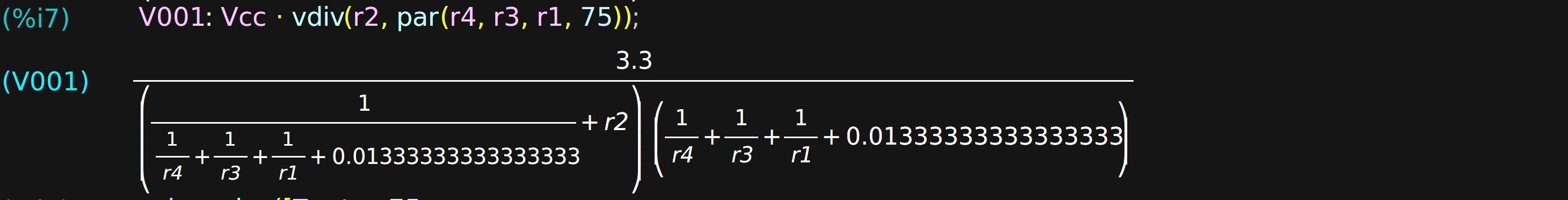 computer algebra for electronic design hackadaynow, we can form the four equations and have maxima solve() them the first equation sets the output impedance to 75 ohms, while the remaining three set the