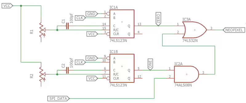 Schematic of SPI to NeoPixel circuit using 74HC123