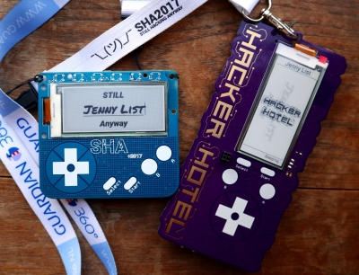 The SHA2017 and Hacker Hotel 2019 badges side by side.