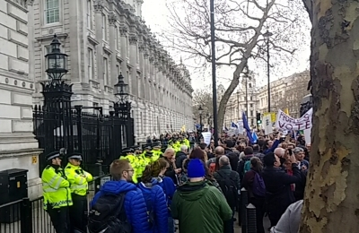 Jubilant crowds at the gates of Downing Street. (Jenny List)
