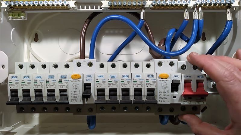 A k Inside A Typical British Residential Power Panel ... Home Electrical Panel on